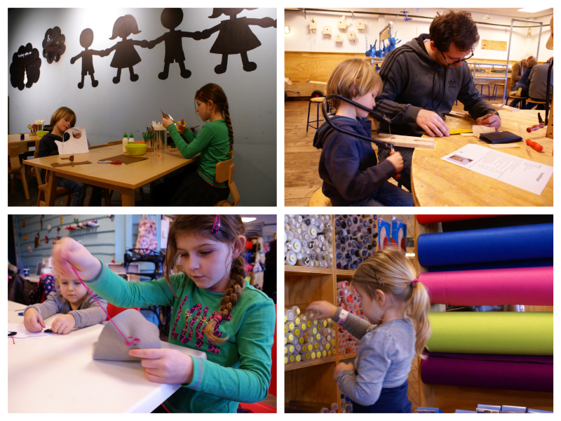 Creatief bezig zijn bij de knutsel academie, techniek academie en de mode academie.