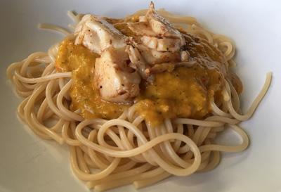 gele paprika spaghetti