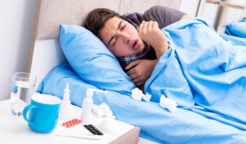 man met griep