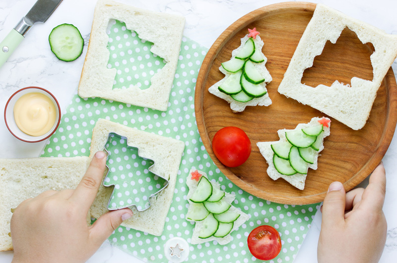 kerstboom komkommer sandwich