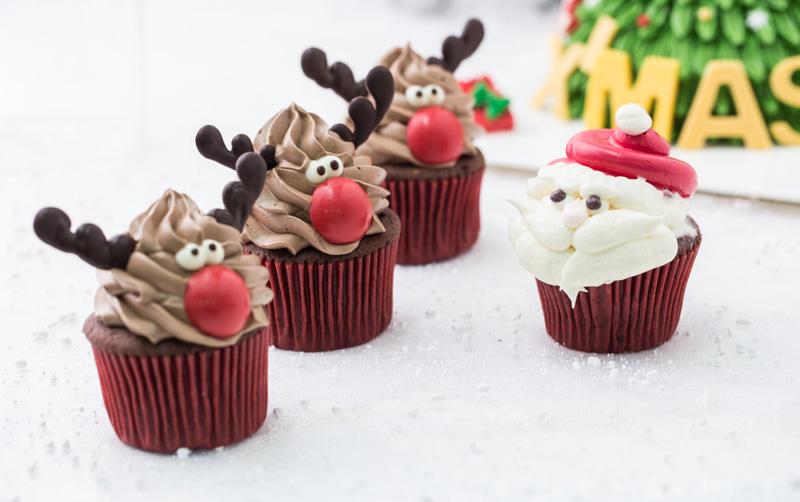 kerstdiner school cupcake
