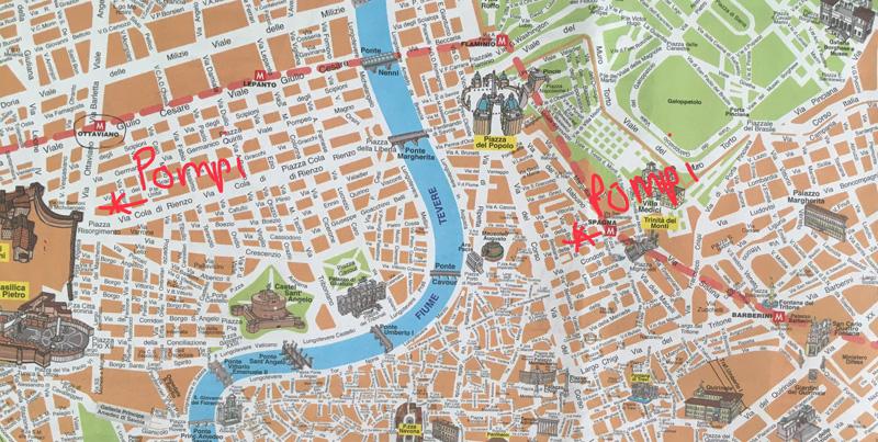 pompi rome op kaart