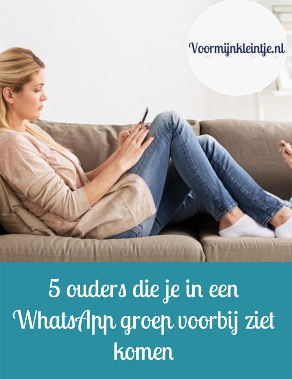 5 ouders die je in een WhatsApp groep voorbij ziet komen
