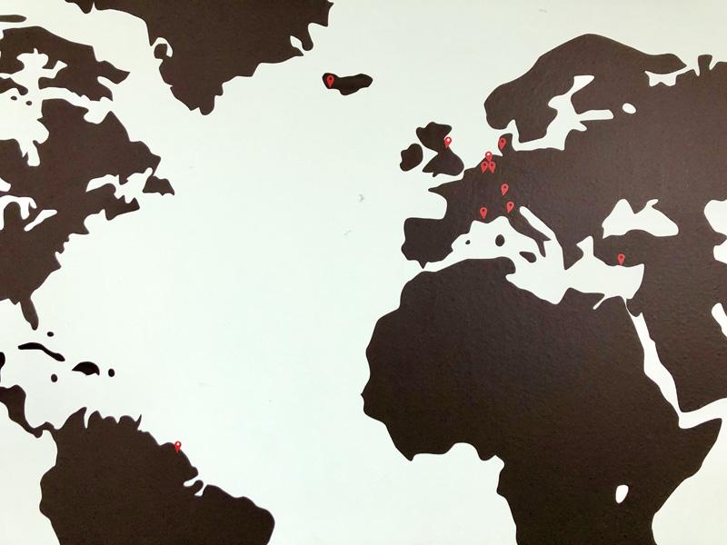 wereldkaart muursticker pin