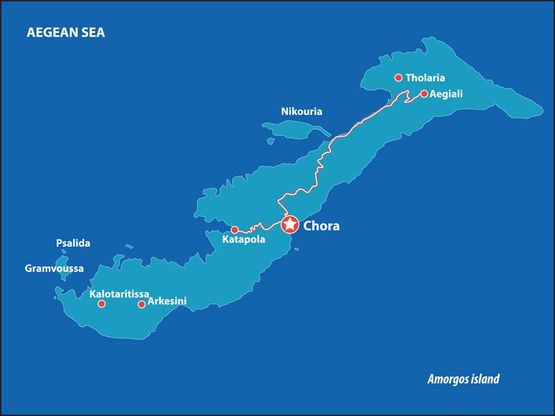 kaart van Amorgos